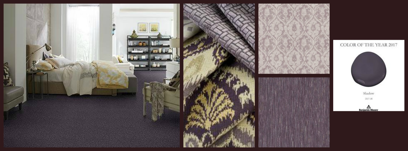 """If you guessed the color purple, well, your mainly right, but if your guess is Benjamin Moore's 2017 Color of the Year, """"Shadow"""" - you got it! Over the years we've come to know Diane's love for the color purple, so her pick for 2017 shouldn't surprise us.  """"Surrounding yourself in your favorite color and giving that color just the right color combination, will compliment beautifully. No need to over-indulge (insert laugh) just focus on the overall look with textures and patterns and repeat a bit throughout your home."""""""