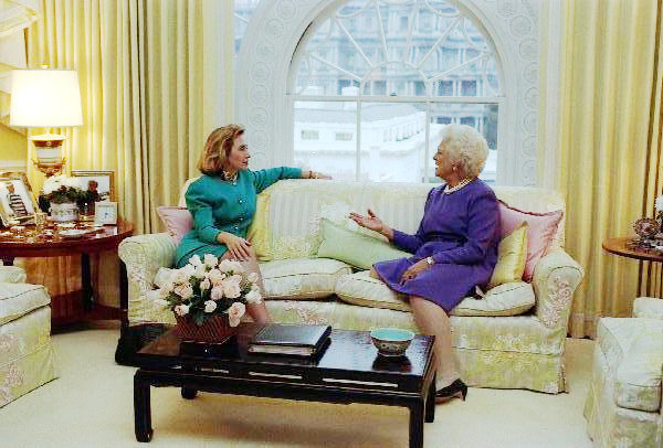 Barbara Bush - On or about 1990, the furnishings changed, but our window treatments appear to be Nancy's. The photo scene has been captured many times of the former First Lady's meeting with the incoming First Lady, and I don't think they were talking of decor.
