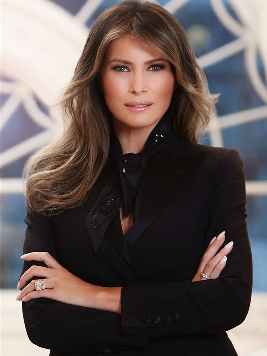 Melania Trump - Photographed in front of our window, but no treatments shown. I guess we'll have to wait and hope that we will be privy to her design conquests. Update to follow!
