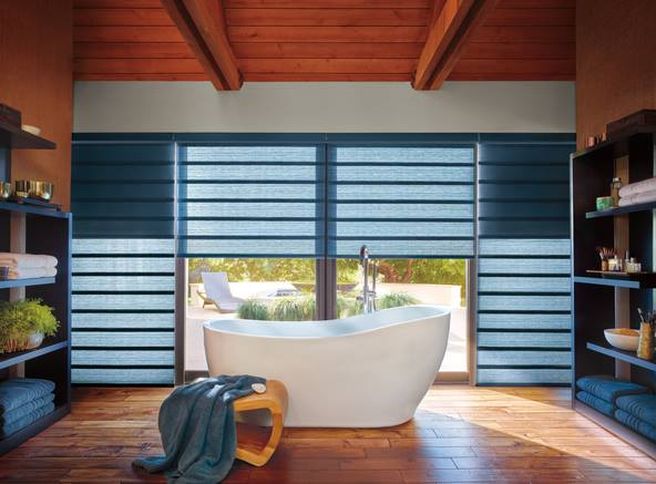 DuoLite - The DuoLite feature is now available on Vignette Modern Roman Shades offering two opacity options in one roman shade.