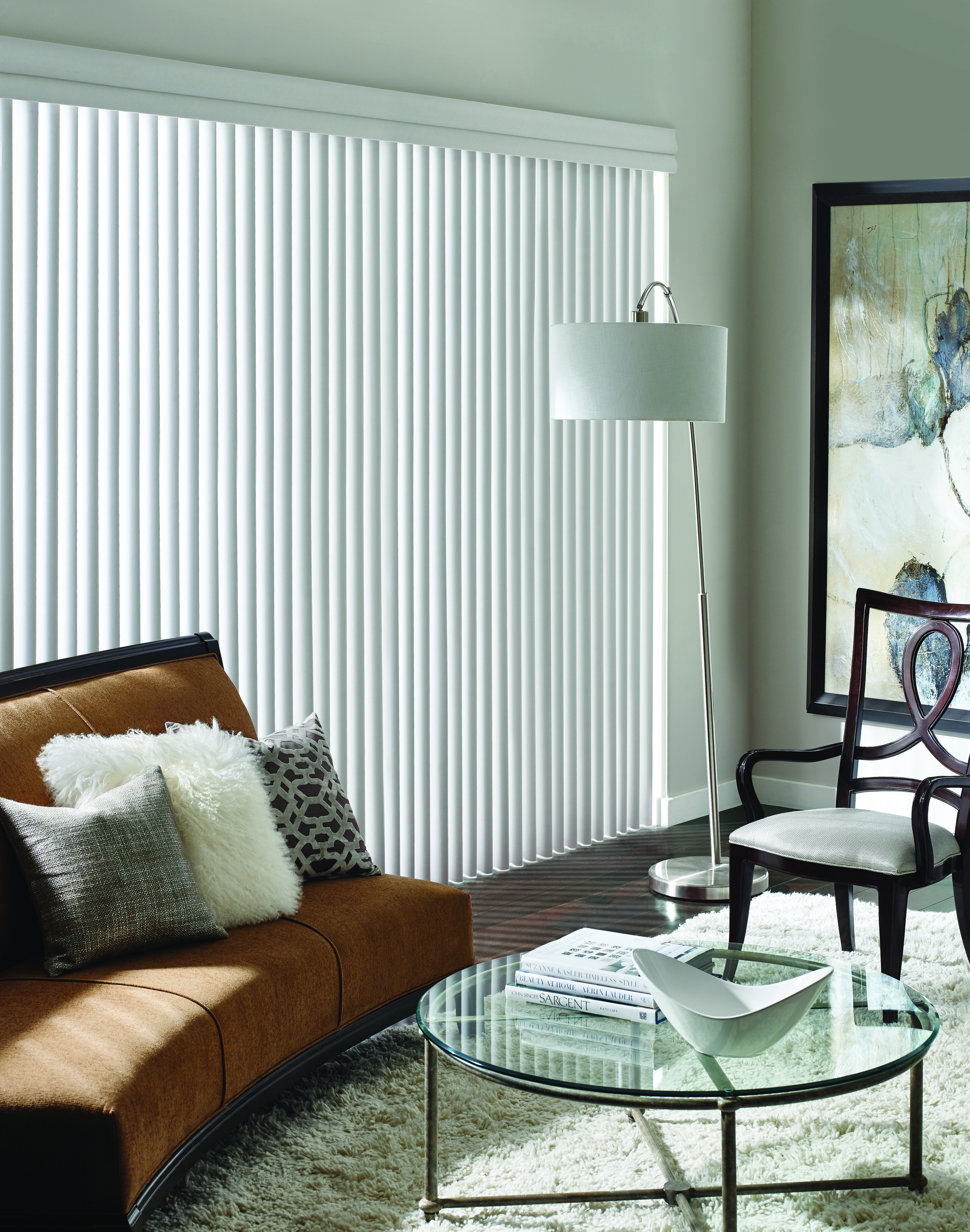 1. Vertical Blinds - An original in covering sliding patio doors are Verticals and they just keep transforming into something new as you'll see - Next!Pros: PVC verticals are easy-to-clean, easier-to-operate, and great for larger windows. A great choice for modern interiors.Cons: We are frequently asked:
