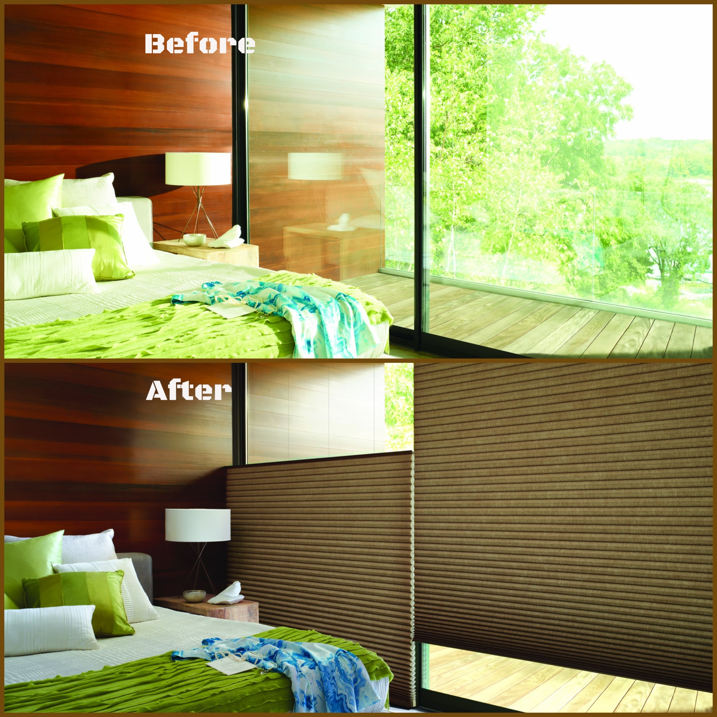 Please don't have a stack attack! Our feature and star of the stack attack show are Hunter Douglas Duettes. The best part is these shades do not require a lot of stack room at the top either. Top-down/bottom-up, black-out shades are an absolute perfect fit for our #15.