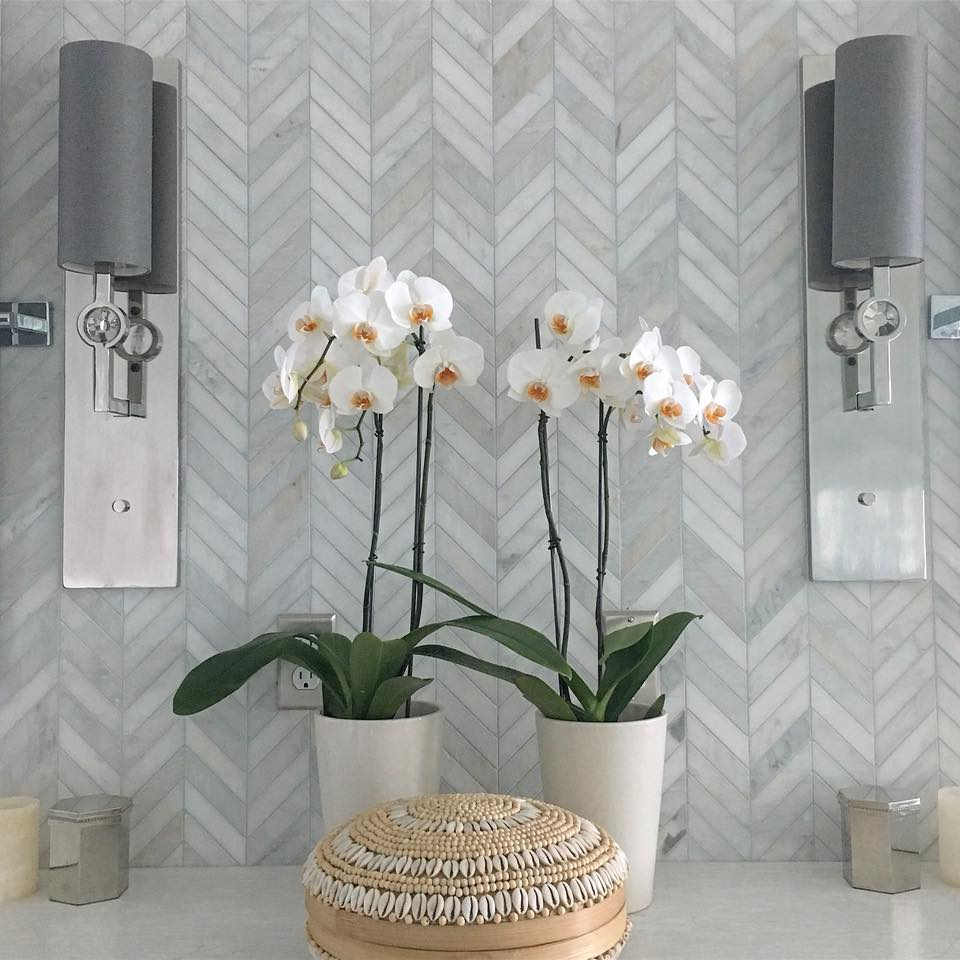 Emser Tile - Welcome your guests in grand style with Tile by Emser. From the floors to the counters and the walls you'll love Emser's stunning collections, especially in our Be Holiday Home Ready Savings Event!Photo Credit: Interior Designer Vern YipEmser Tile Winter Frost