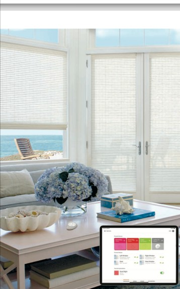 Power View App - Operate your window coverings individually, by room, or throughout the home, on your own schedule using Scenes and Automations.