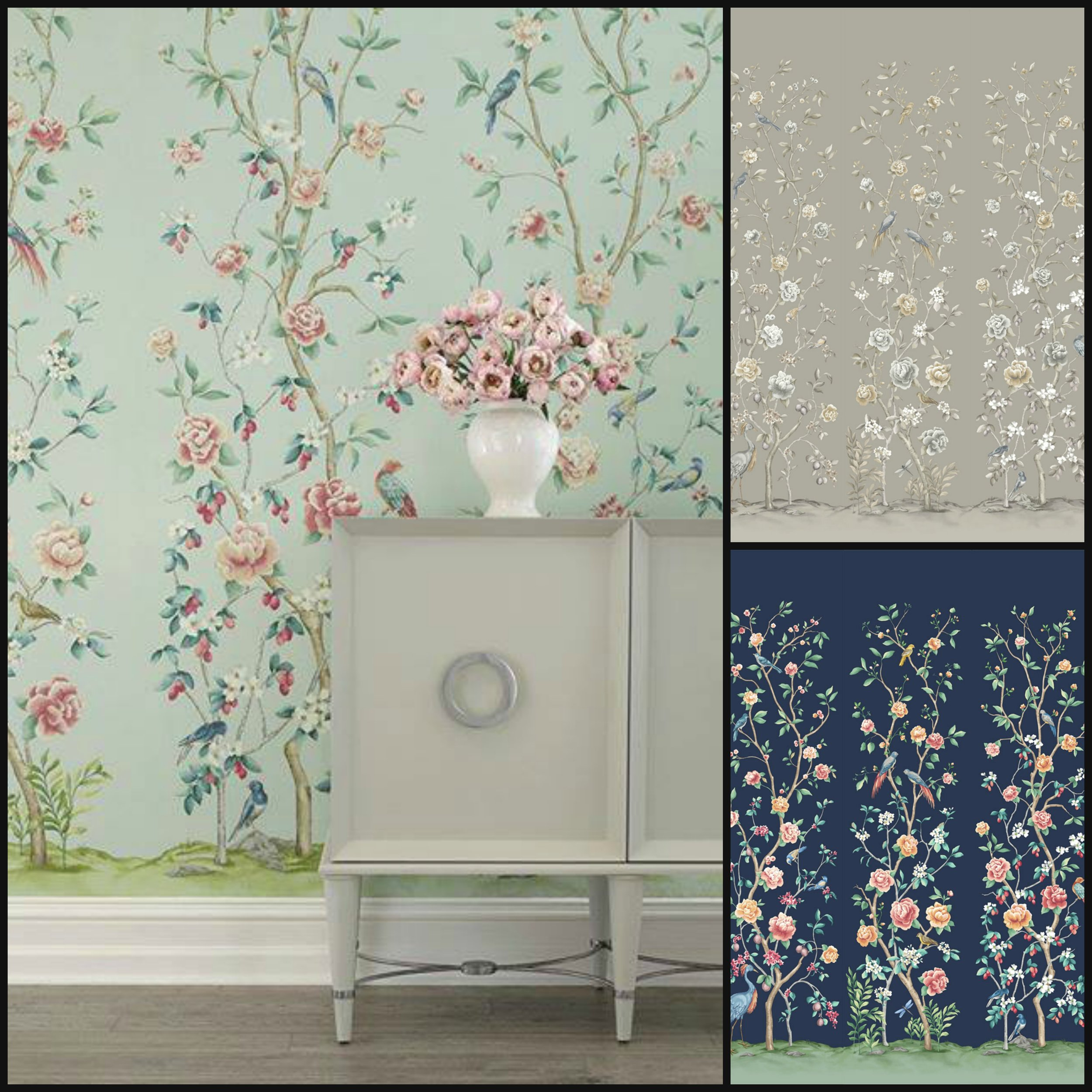 Chinoiserie - Depicting Asian motifs in a decorative style, Chinoiserie was most popular in the late 1700's. This typically whimsical scenery is trending today in wallpapers, fabrics, painted furnishings and is a lovely backdrop for dining and conversation.