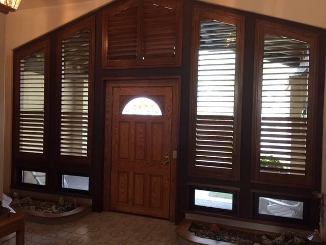 Custom wood plantation shutters by Knight's Carpets and Interiors