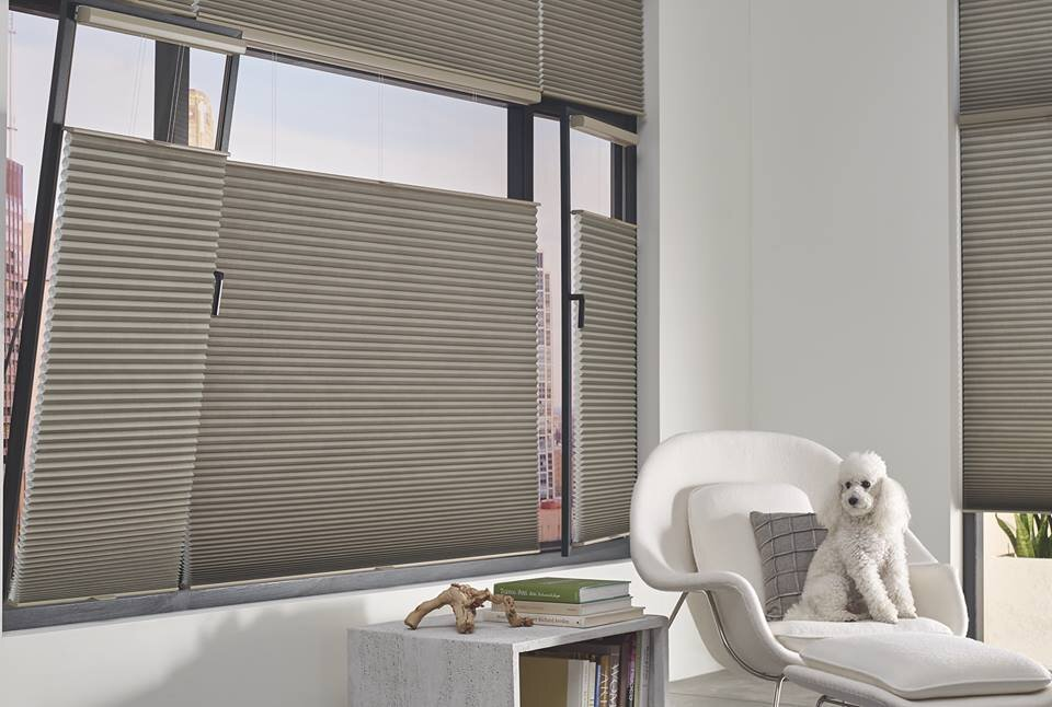 New features - Hunter Douglas premiered their new TrackGlide system to keep shades in place for windows that tilt and turn. Great for Skylight shades too! At this time this feature is available with Duette honeycomb shades only.