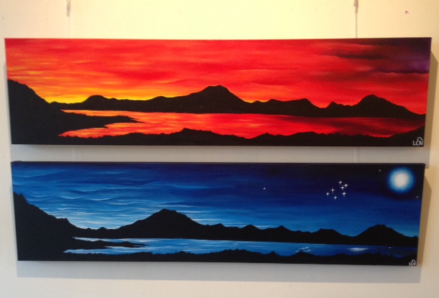 """""""Te Atapo"""" and """"Matariki i te po"""". Acrylic on canvas. By Lovey Crossma-Nixon."""