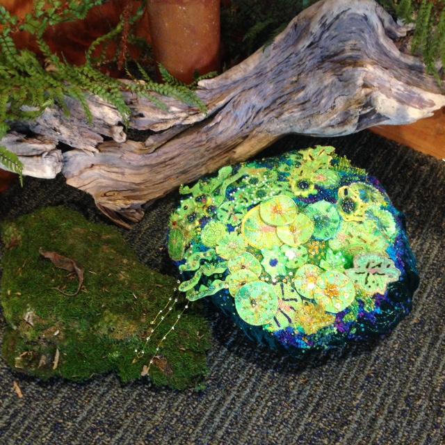 """Moss Rock-Rock Moss"". Embroidery fibre art. By Robyn Ashton."