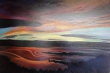 """""""Doctors Point Sunset"""". Oil on linen."""