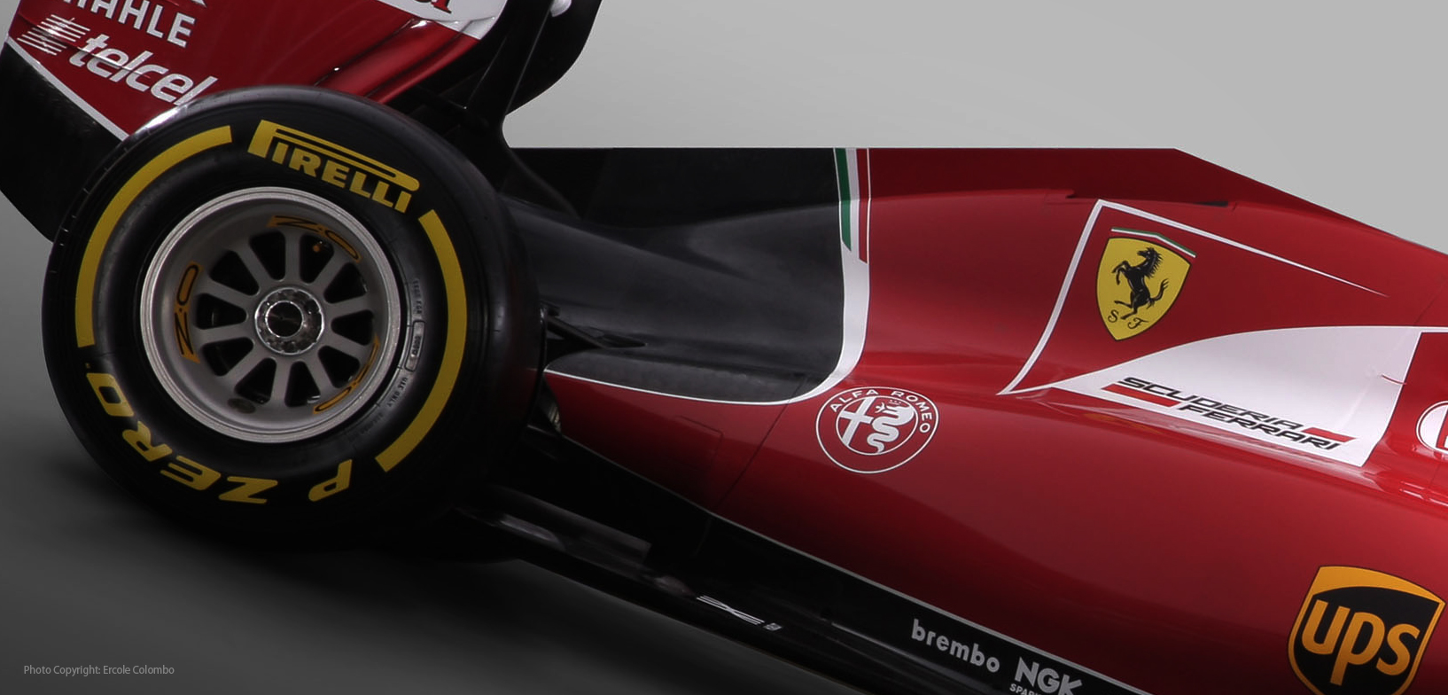 Application of the new logo on the Formula 1 Ferrari SF15
