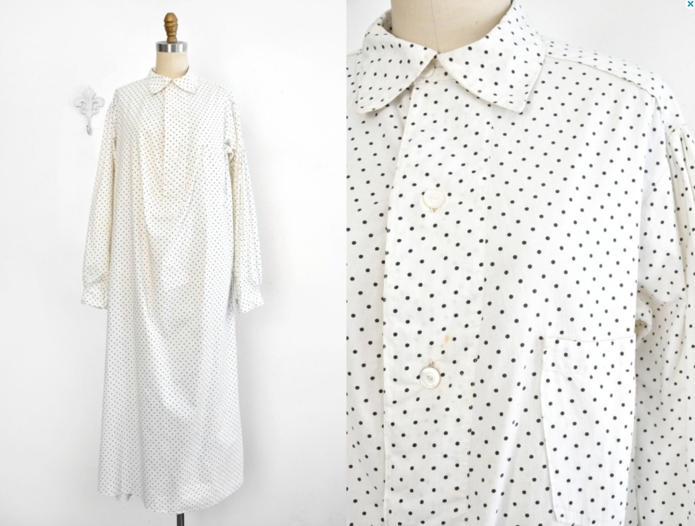 Antique Polka Dot Nightshirt - Bombyx Vintage