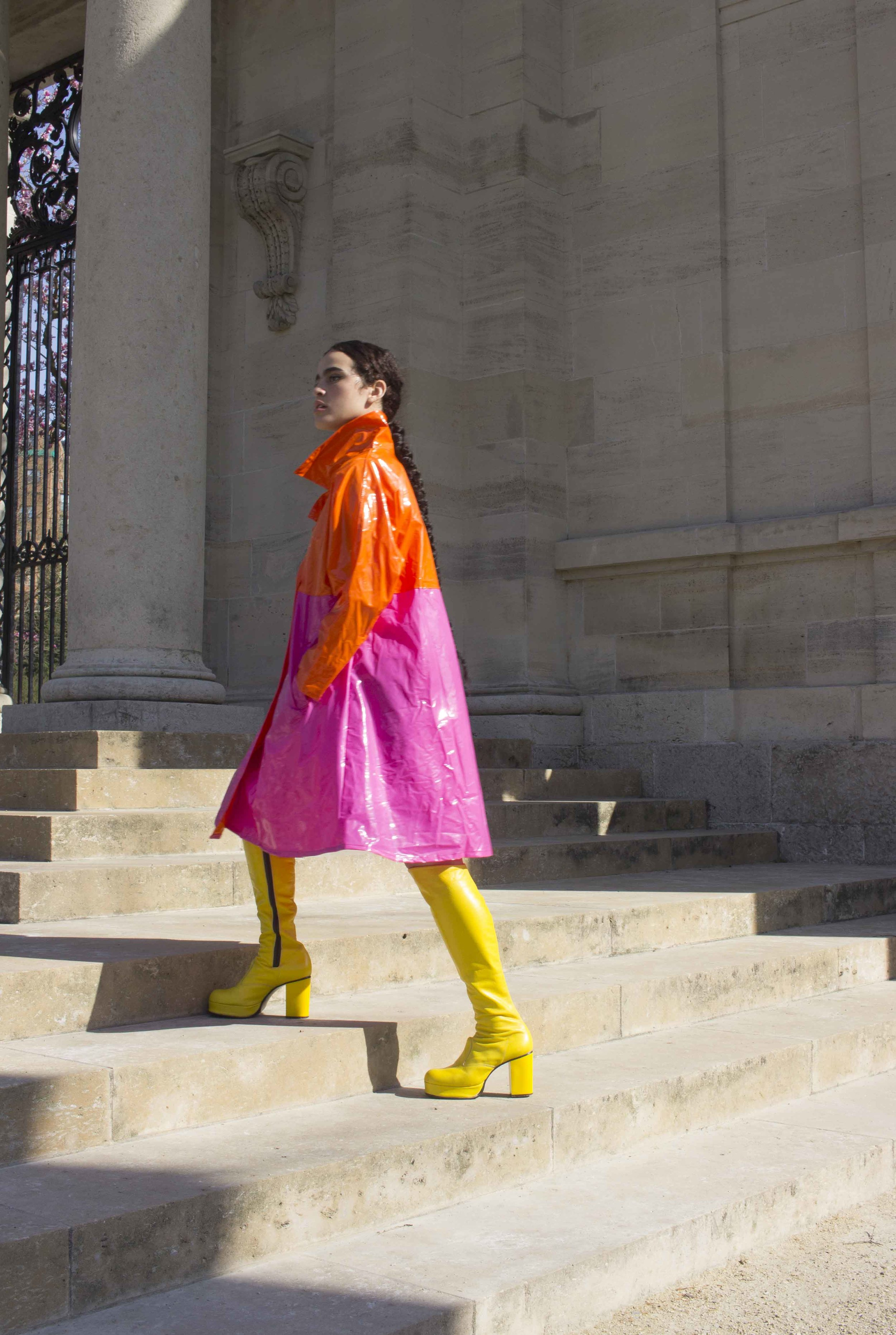 1980s Colorblock Vinyl Trench and 1970s Canary Leather Boots
