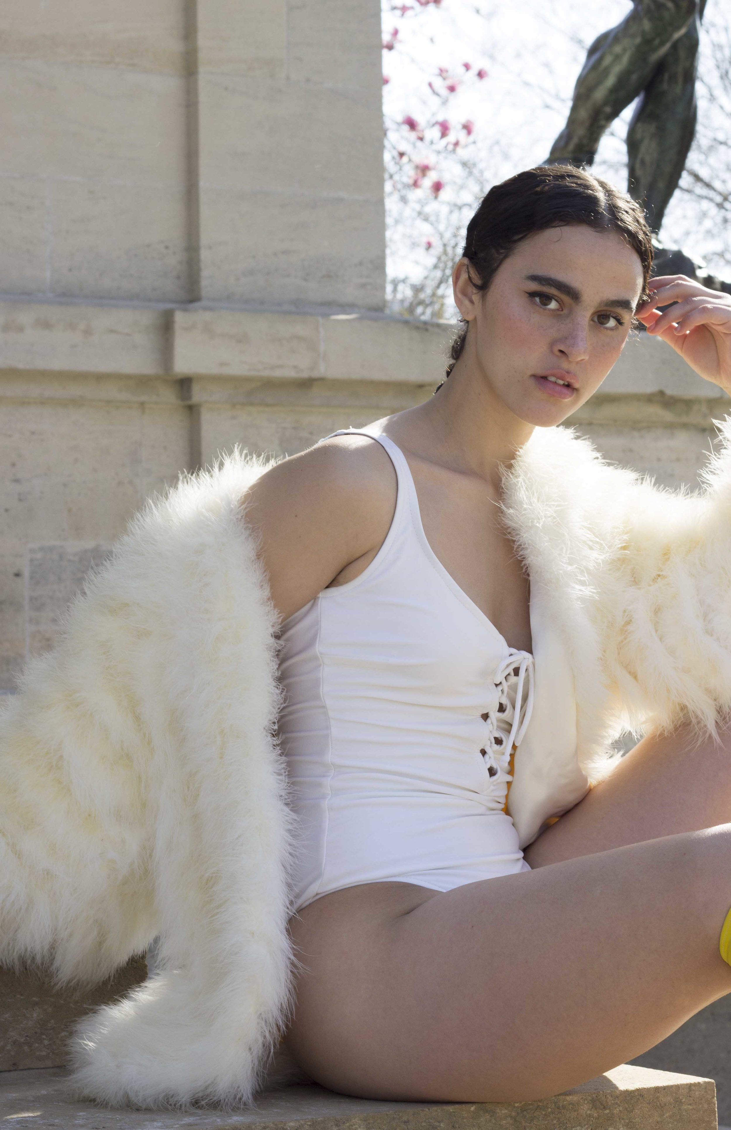 1970s White Maillot and 1970s Creme Marabou Feather Jacket