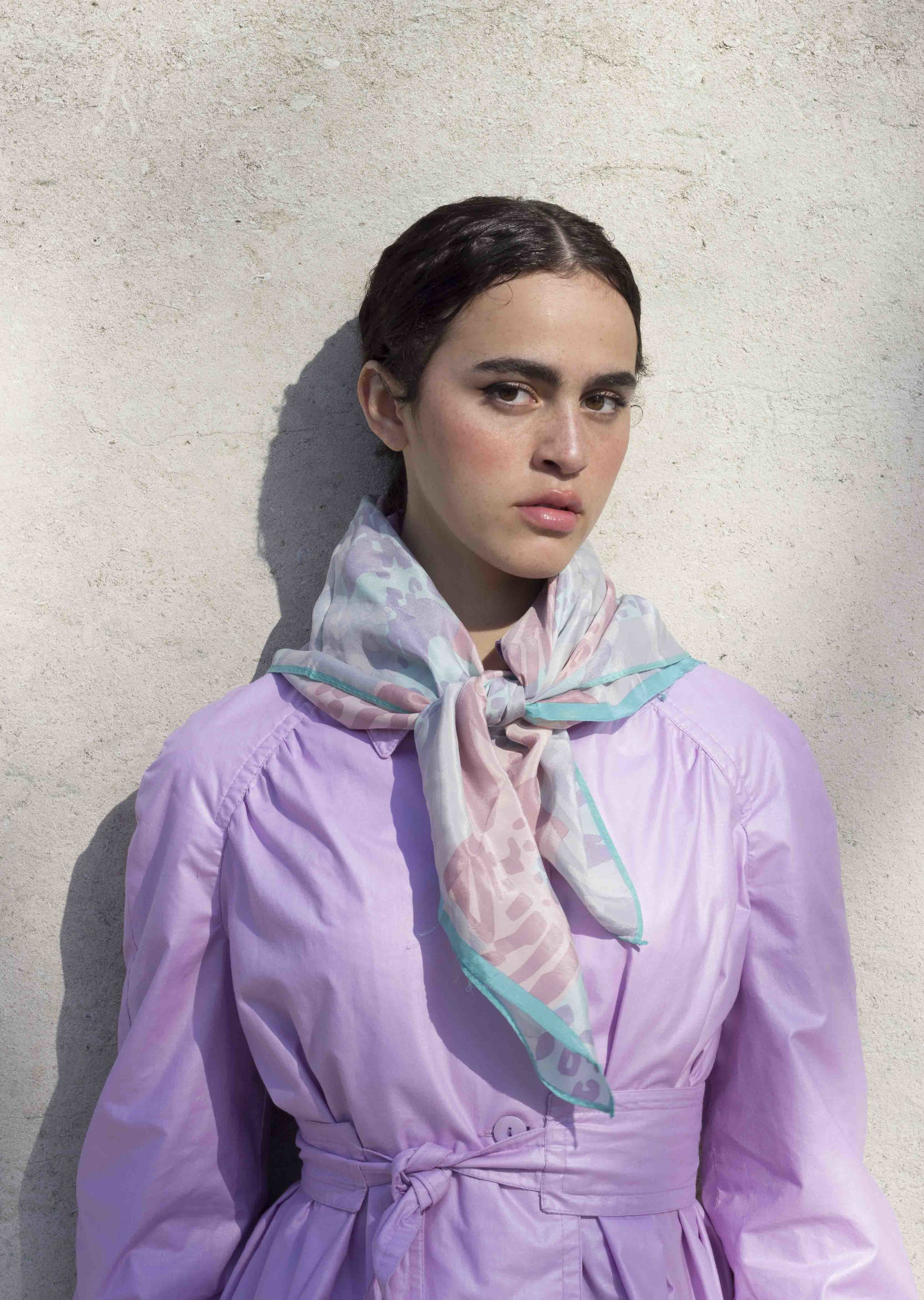 1970s Donald Brooks Lavender Trench and Bill Blass Silk Scarf