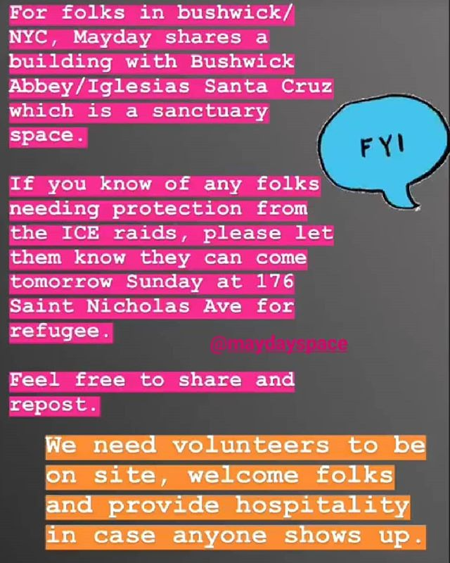 Hit up @maydayspace  for anyone who might need refuge. FUCK ICE AND FUCK THIS NAZI SHIT. Pass the information along