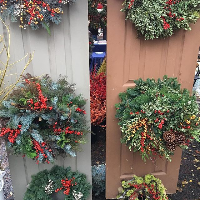 Last chance at the PSU Farmers Market for a wreath@portlandfarmers #holidays#christmas