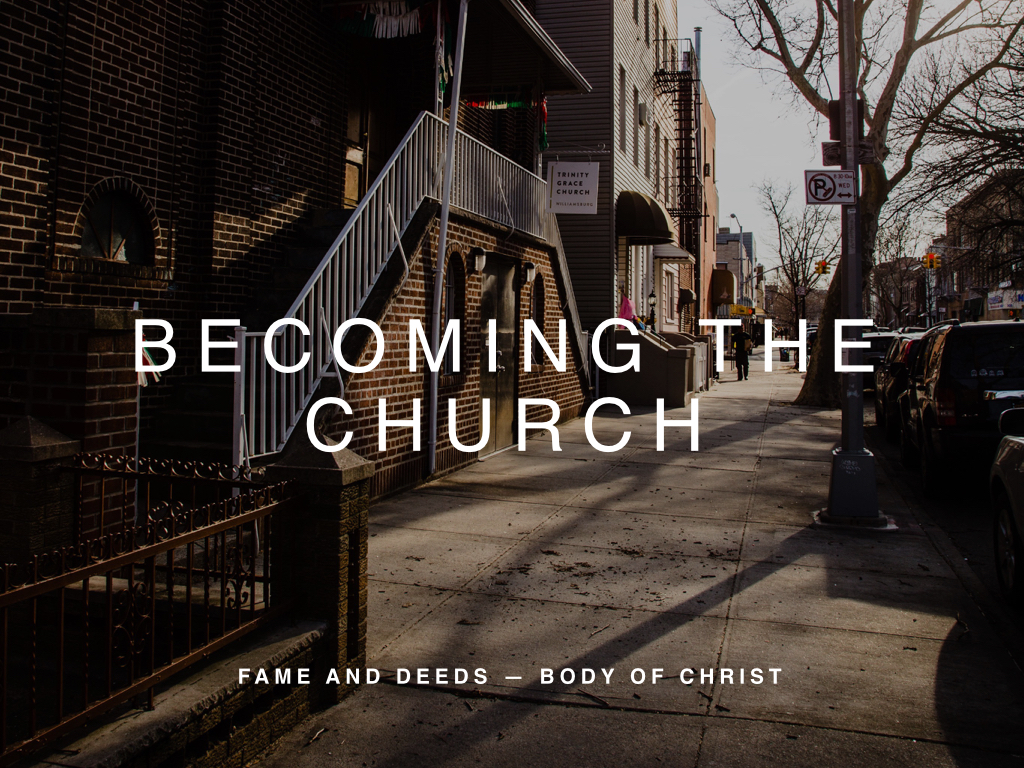 Becoming the Church is a two-week visionary teaching series for Trinity Grace Church Williamsburg. Midway through our first year as a church, we pause to remember our core motivation from Habakkuk 3:2 and consider the potential of the church as the Body of Christ in a global city.
