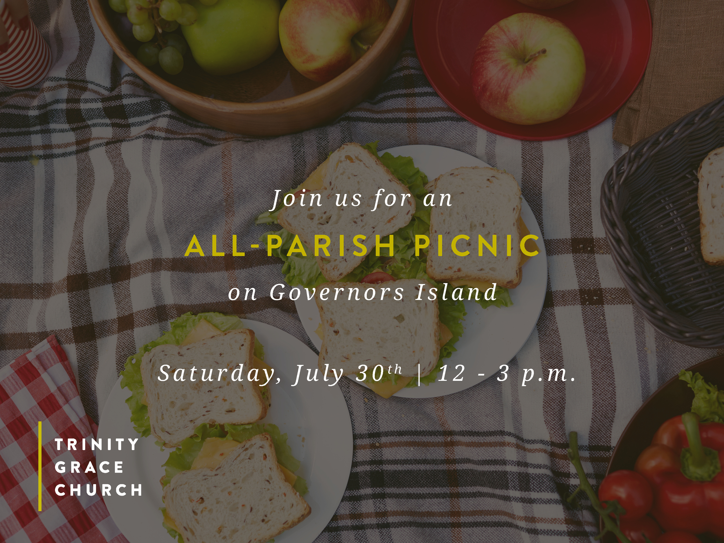 Mark your calendars for Saturday, July 30 when we'll gather with our entire church family for one massive picnic on Governor's Island. Bring a friend, blanket, and favorite food to share for an afternoon of fun in the sun.