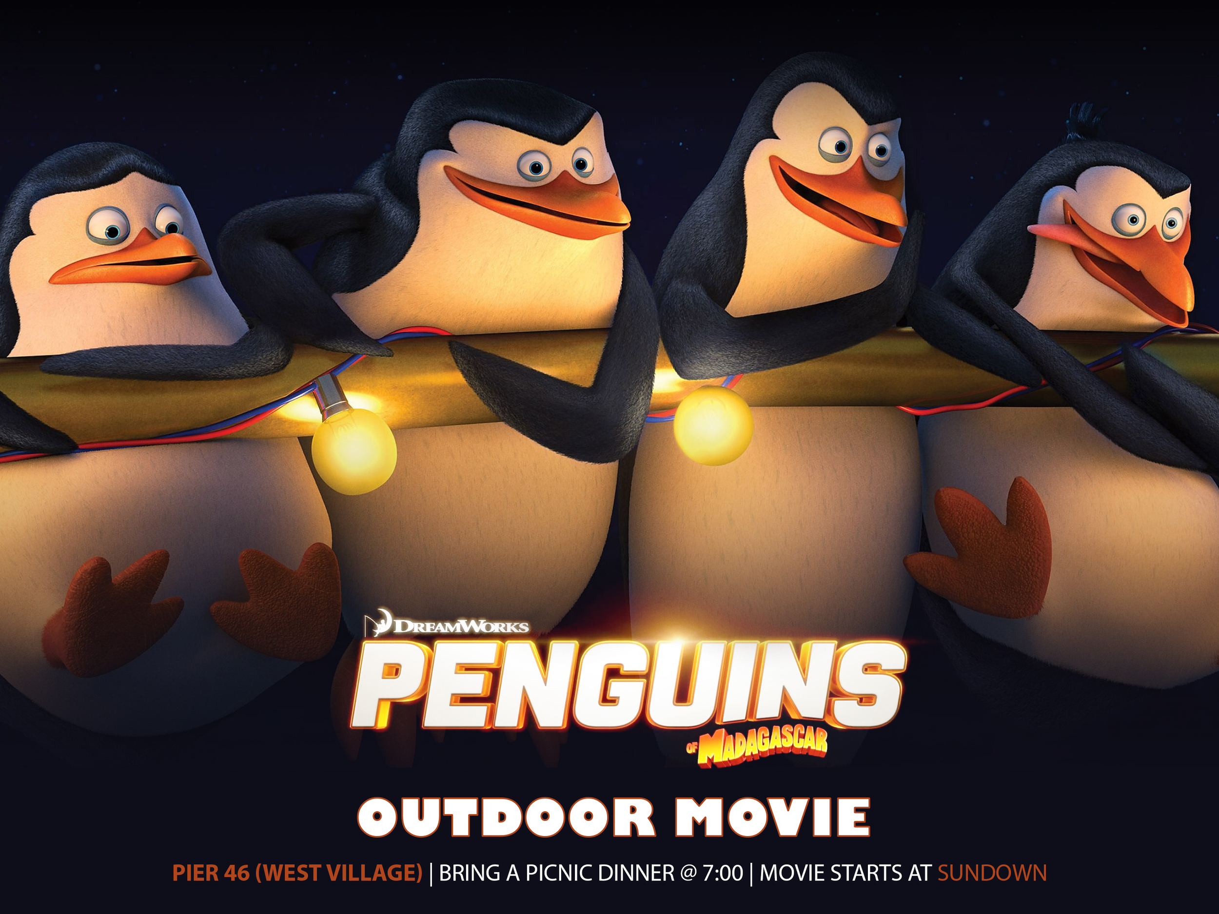 Join us for a family-friendly movie night at Pier 46! Movie starts at 8:30 PM, but we will enjoy the outdoors together starting at 6:30!