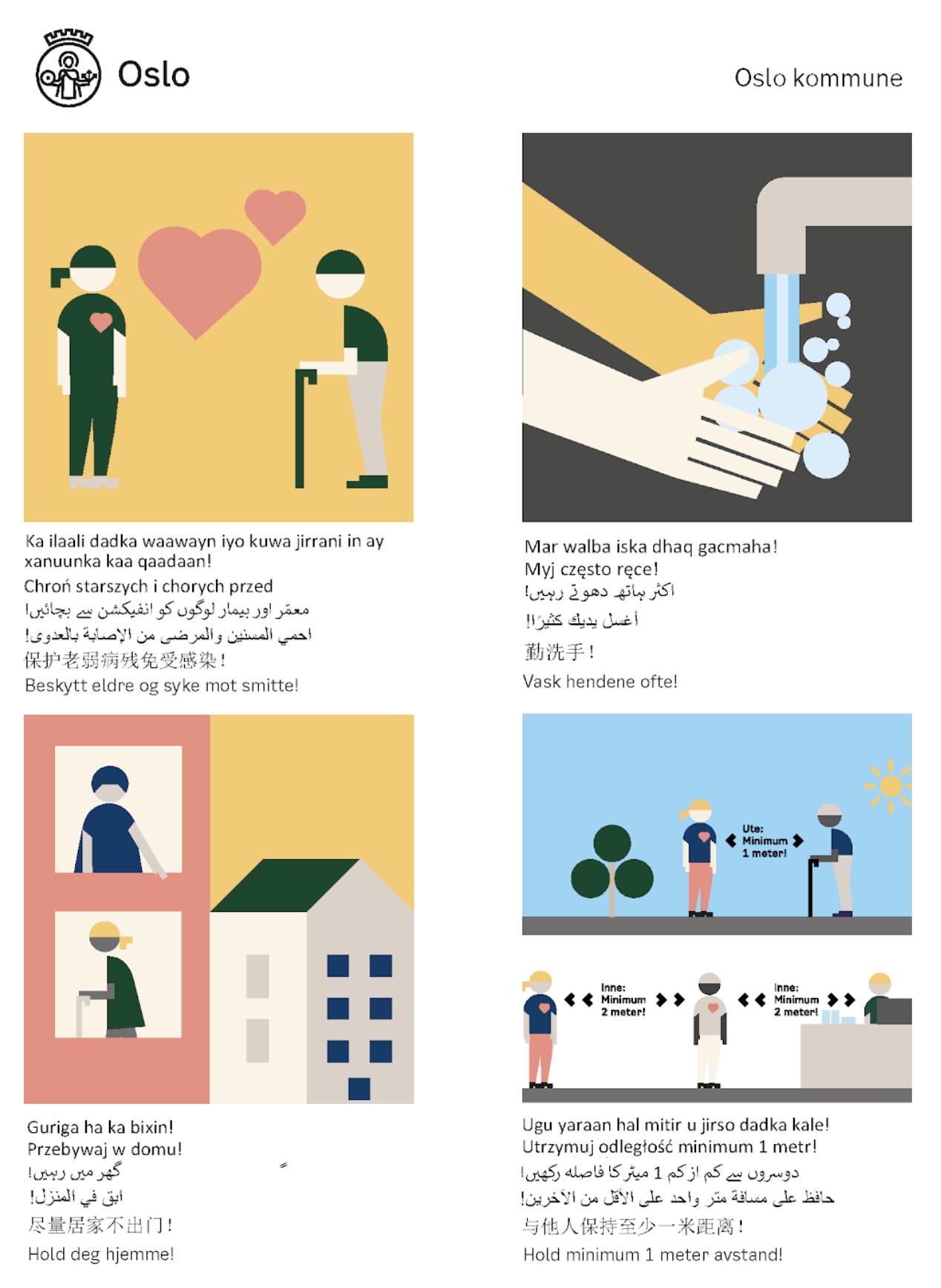 Enhet for mangfold og integrering sin nye plakat, som enkelt skal illustrere hvilke forholdsregler de anser som viktigst.