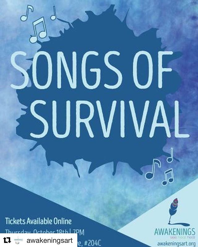 We are proud and honored to have been chosen to participate in this event celebrating survivors.  @awakeningsart with Have you bought your tickers for Songs of Survival yet?? This is a performance event featuring originally composed or re-envisioned music, poetry, and dance that is for, by, and about survivors of sexual violence. Join us on Thursday, October 18th for an evening of performance. Doors open at 6:30 and the show will begin at 7:00. Click on the link in our bio to buy tickets. Can't wait to see you all there! . . . . . . . #chicagoart #chicagononprofit #chicagogallery #sexualassult #advocacy #survivorart #artsed #artwatchers #metoo #concert #metoo #metoomvmt
