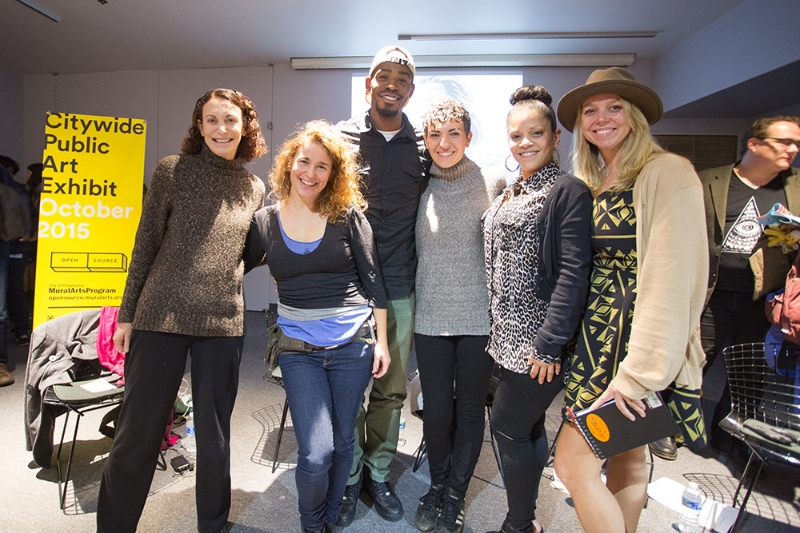 Group of storytellers after at Philadelphia Mural Arts Storytelling event in October of 2015: Jane Golden, Callie Curry, Carnell Bates, Jessica Radovich, Sonia Gonzalez and Heather Box