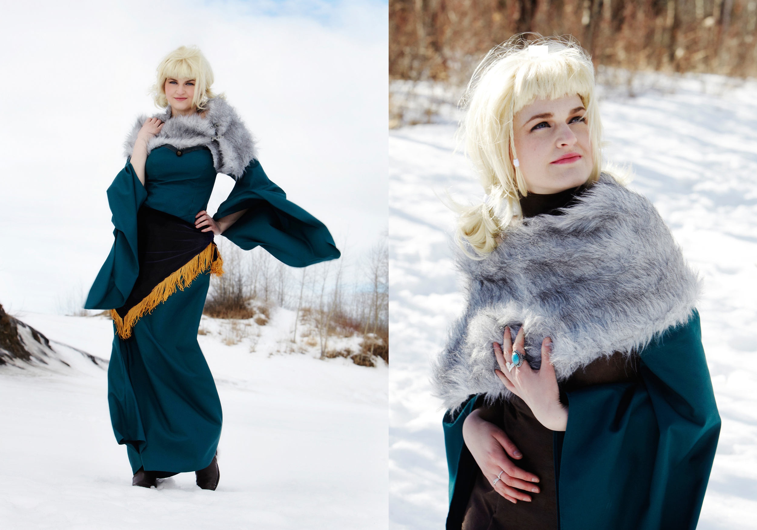 This is the first part of the costume; we were lucky to have a gusty wind that morning in the River Valley and to still have some snow! (yes, it is unusual to have snow in April in Alberta....)