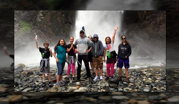Junior high kids having a blast hiking Franklin Falls!