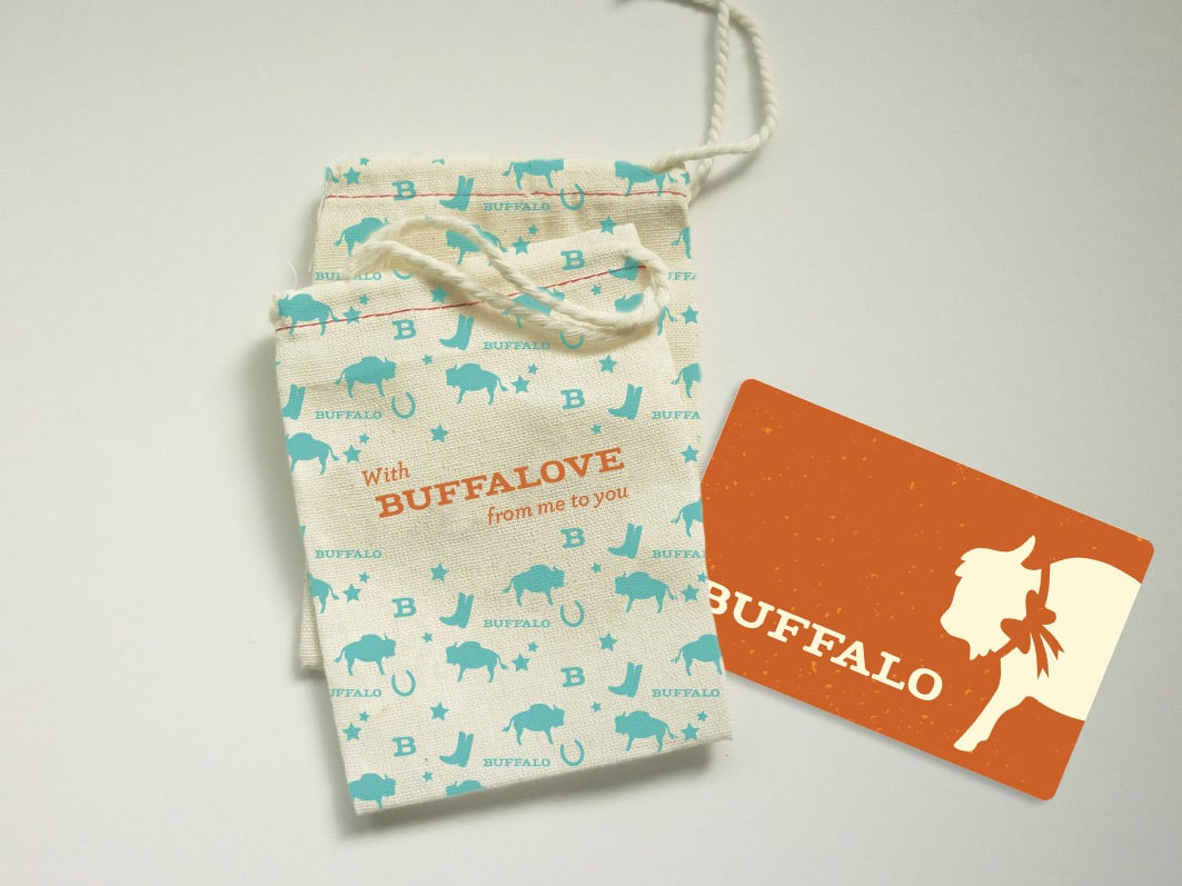 Gift card and reusable drawstring gift pouch.
