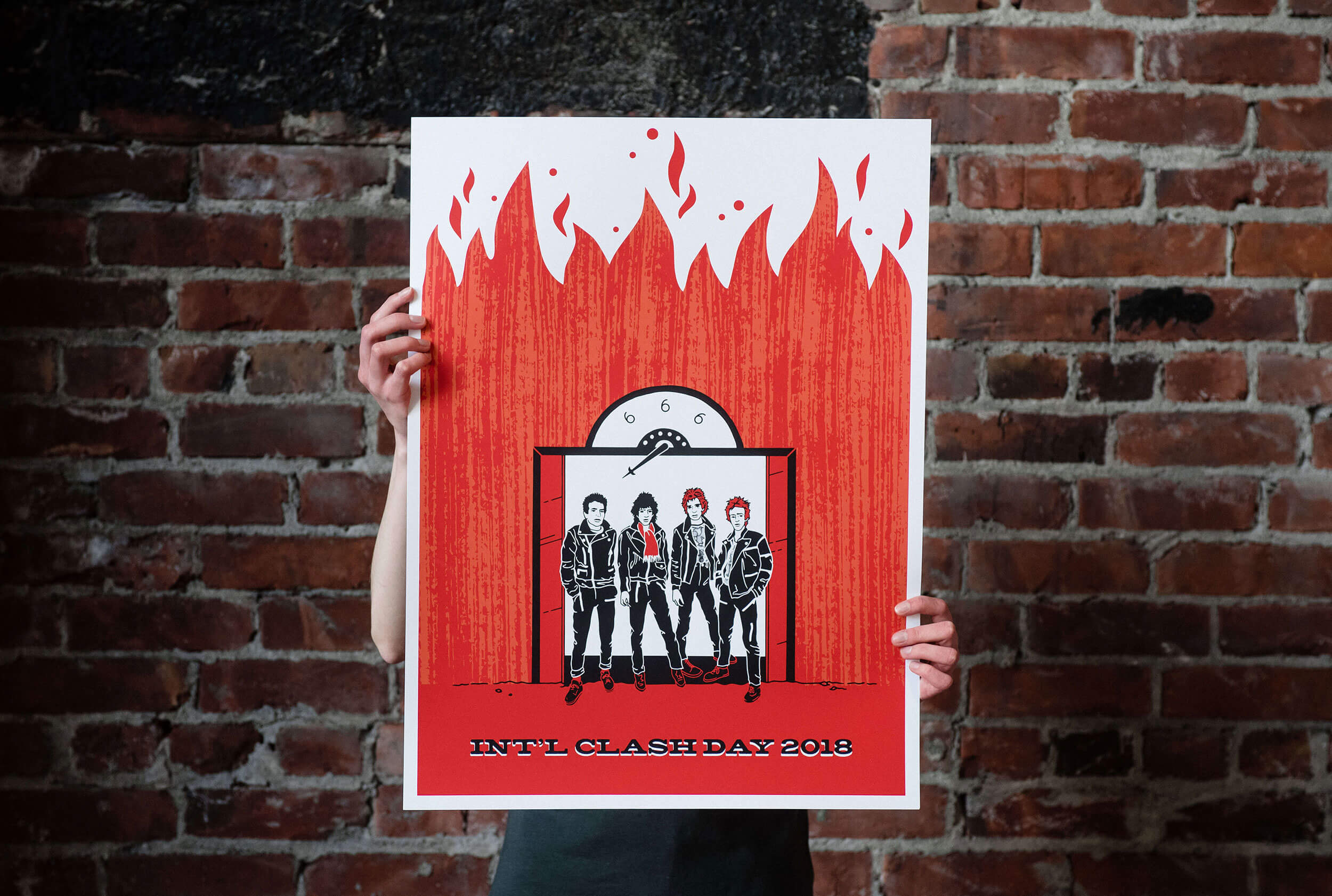 Skye Stewart's International Clash Day 2018 poster design. Illustrated from left to right: Joe Strummer, Mick Jones, Paul Simonon, and Topper Headon of the Clash stand in an open elevator against a wall of red-orange flames.