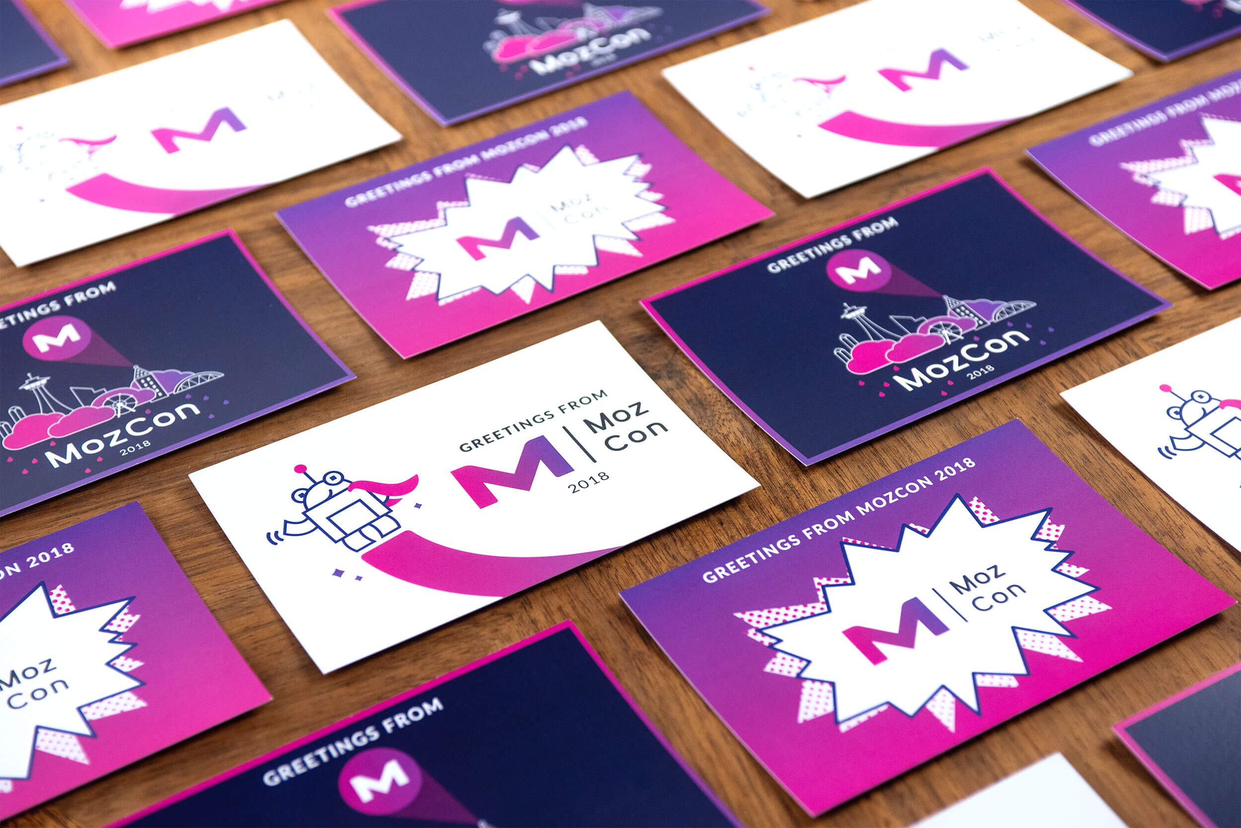 """""""Greetings from MozCon 2018"""" postcards. Click to enlarge."""