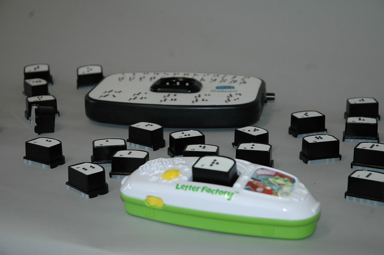 Brailleblox braille alphabet block compatibility with LeapFrog Fridge Phonics device