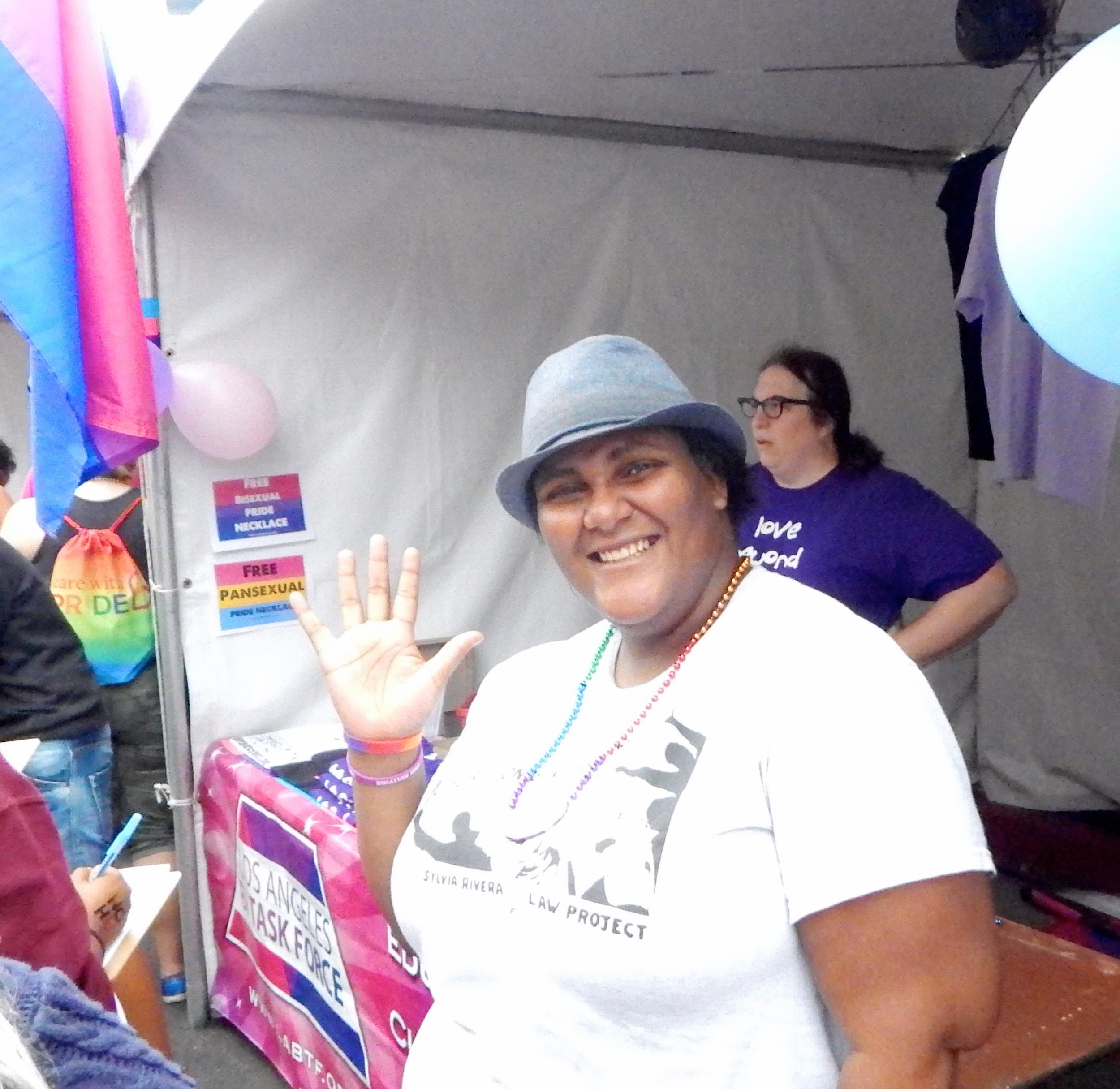 Faith Cheltenham at the LA Bi Task Force Booth