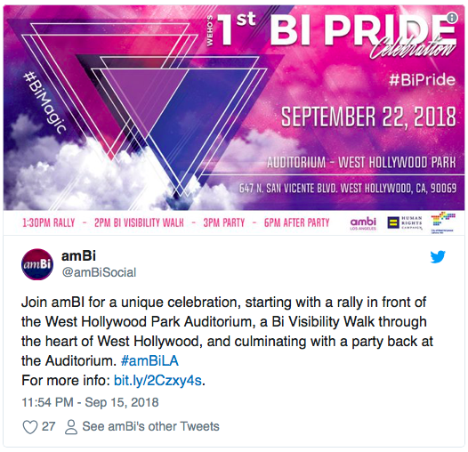 America is getting its first citywide Bi Pride celebration