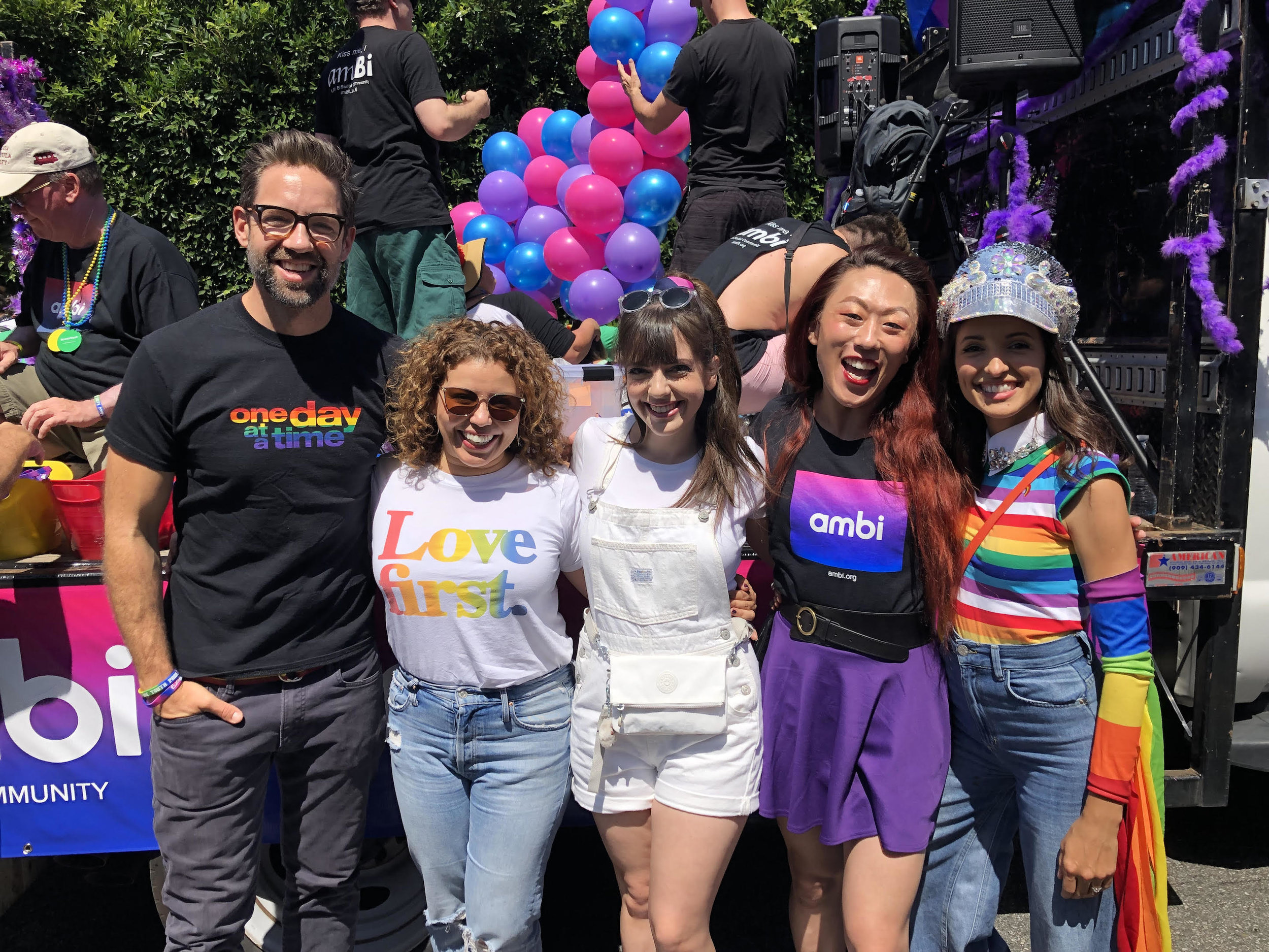 The cast of ODAAT joins amBi. From left: Todd Grinnell, Justina Machado, Sheridan Pierce, Nicky, Endres, and India de Beaufort