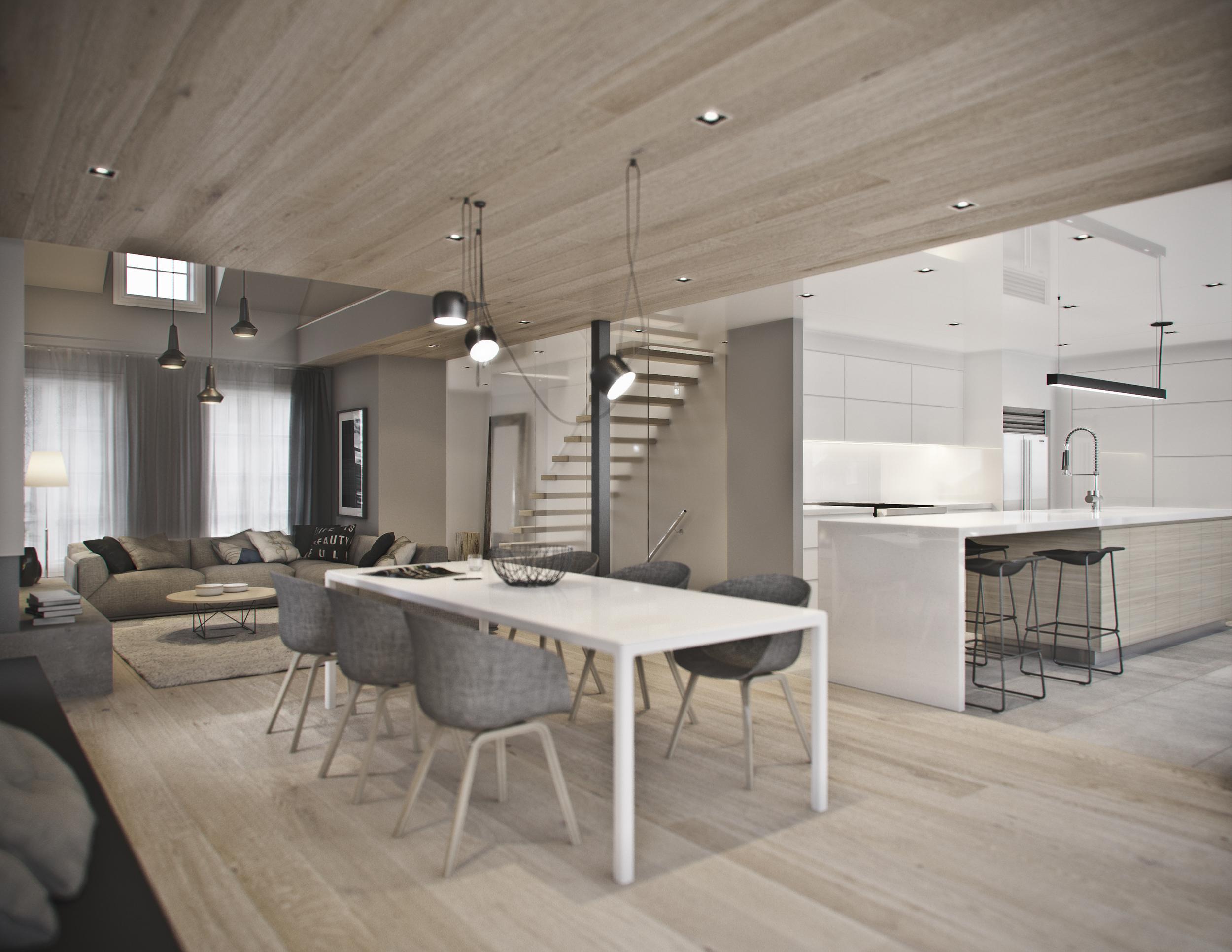 INTÉRIEUR: Vue de la salle à manger, cuisine et salon.