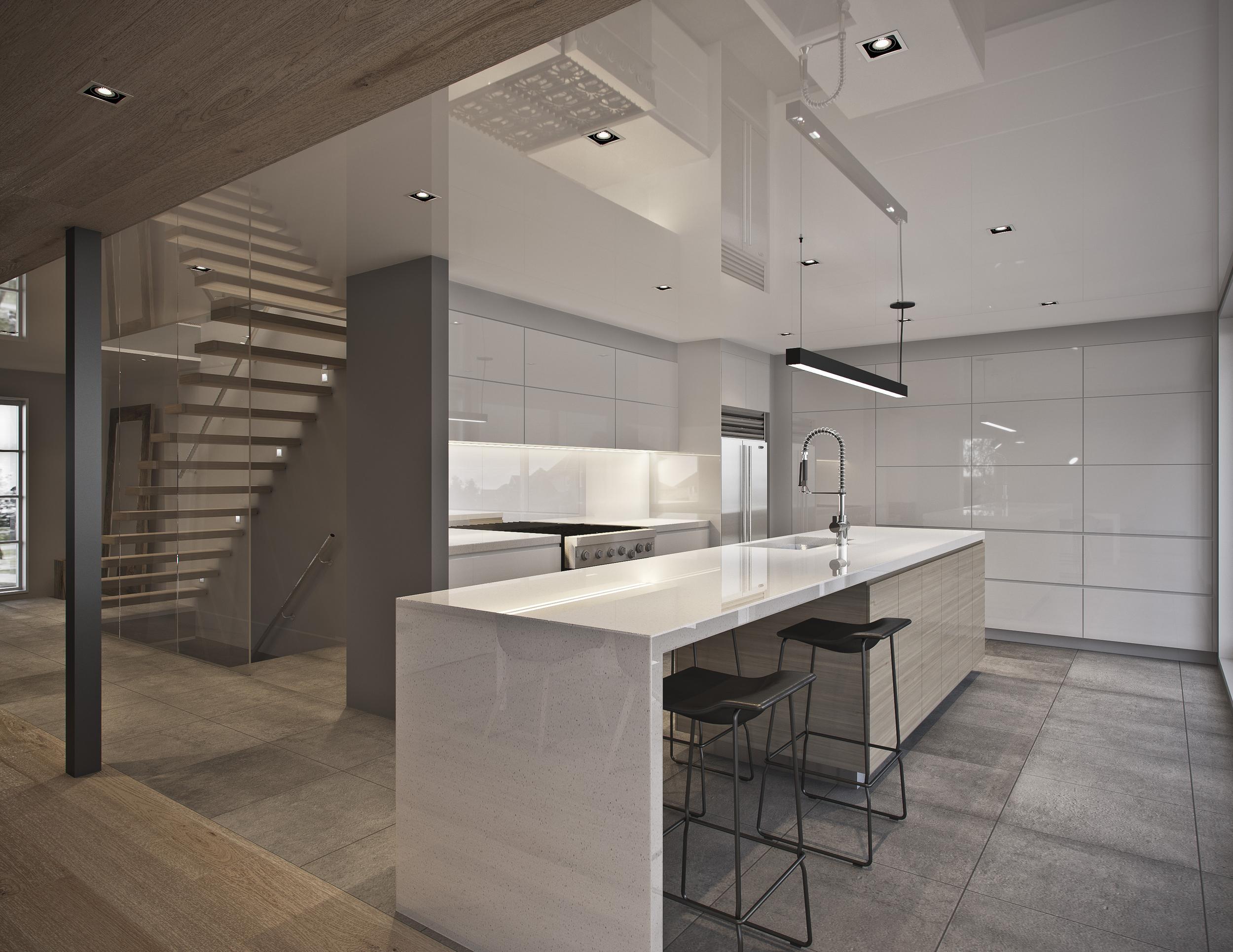 INTÉRIEUR: Vue de la cuisine et de l'escalier.
