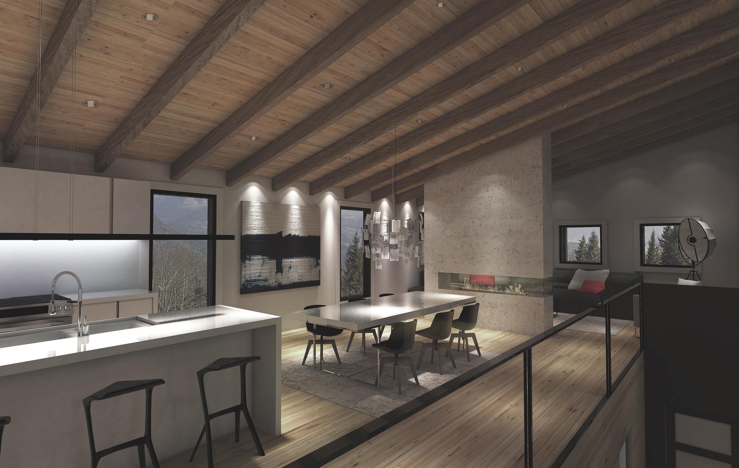 INTÉRIEUR: Vue de la salle à manger et cuisine