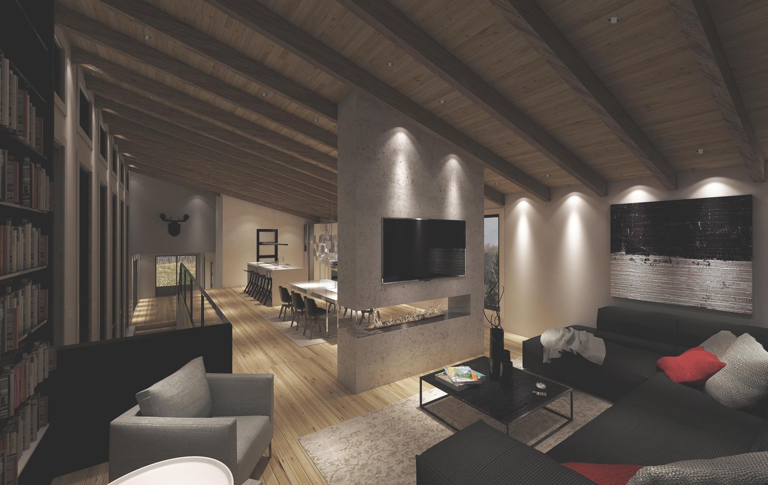 INTÉRIEUR: Vue du salon,salle à manger et cuisine