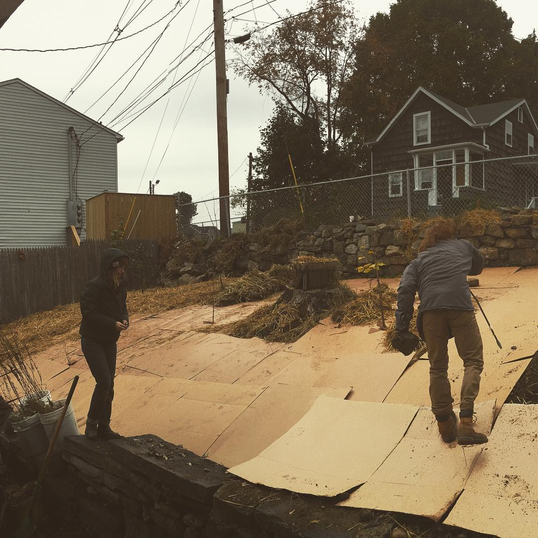 Members of the crew installing cardboard over lawn as we plant the hillside orchard.