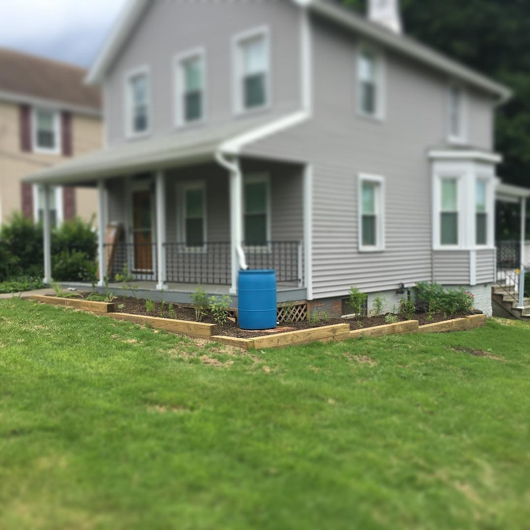 Simpe residential downspout retrofit immediately after installation
