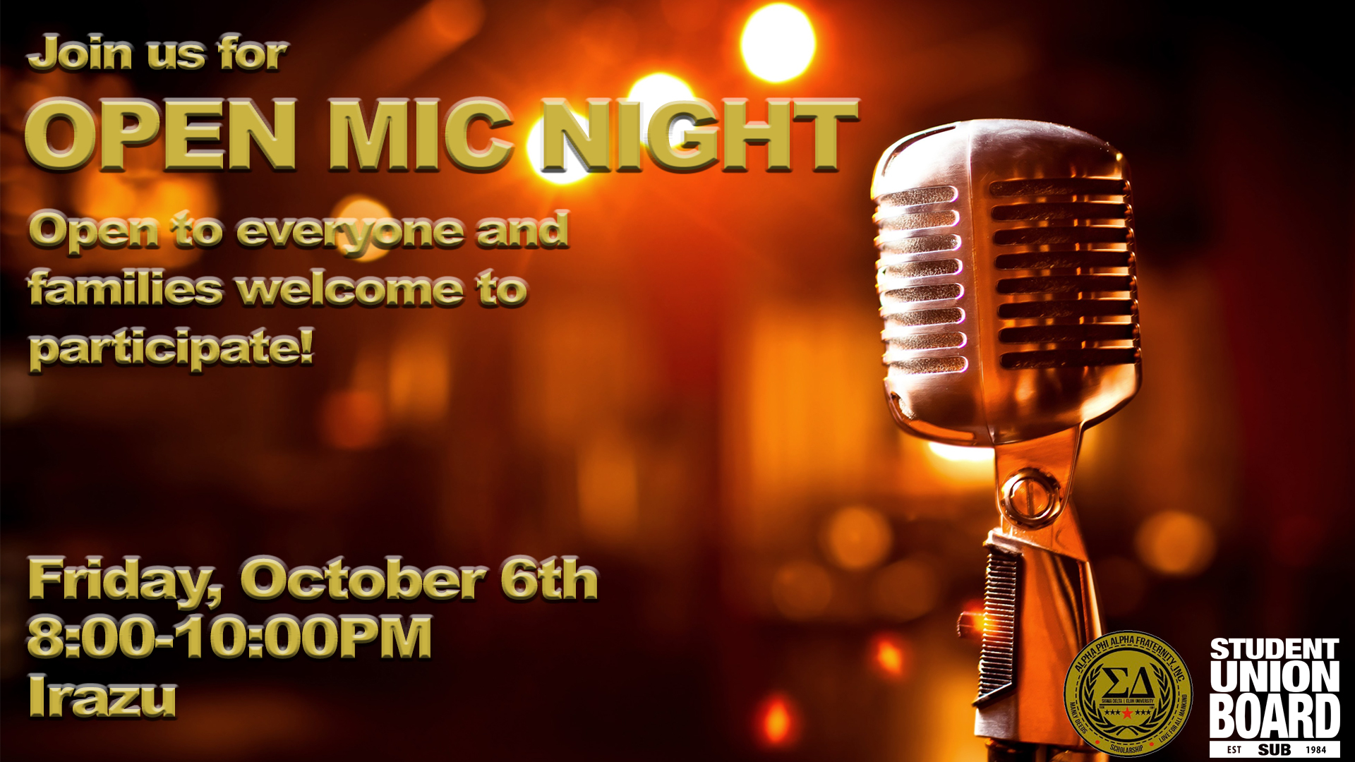 An open mic night with our amazingly talented students (and maybe even a few families)! This will be a great opportunity for our Elon community to express themselves through music, comedy, dance, magic, poetry, and other acts. You don't want to miss them take the stage! Join us for some light desserts in Irazu in the Moseley Student Center from 8-10pm.