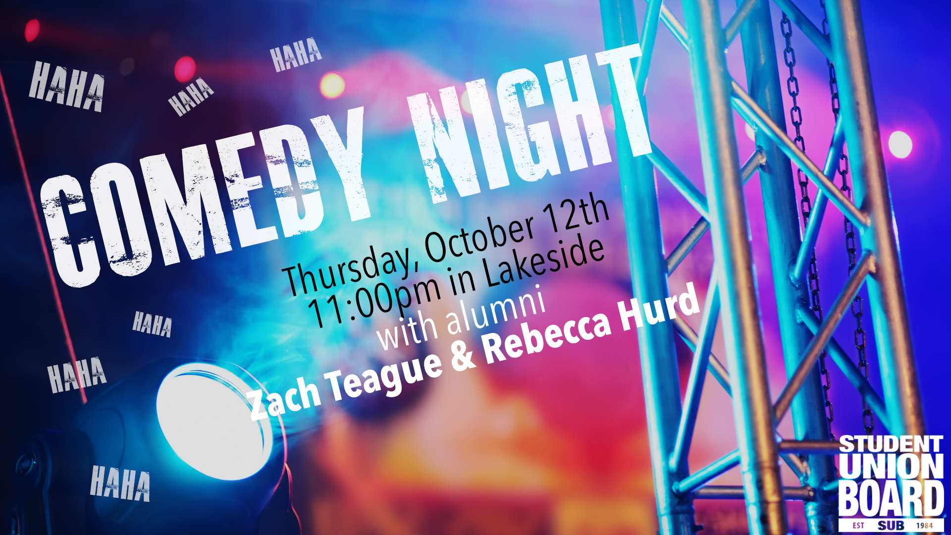 Come laugh it up with us before Fall Break! Elon alums Zach Teague and Rebecca Hurd are returning to campus to tell a few jokes and try to get some laughs! Come out and support them at 11 pm in Lakeside!