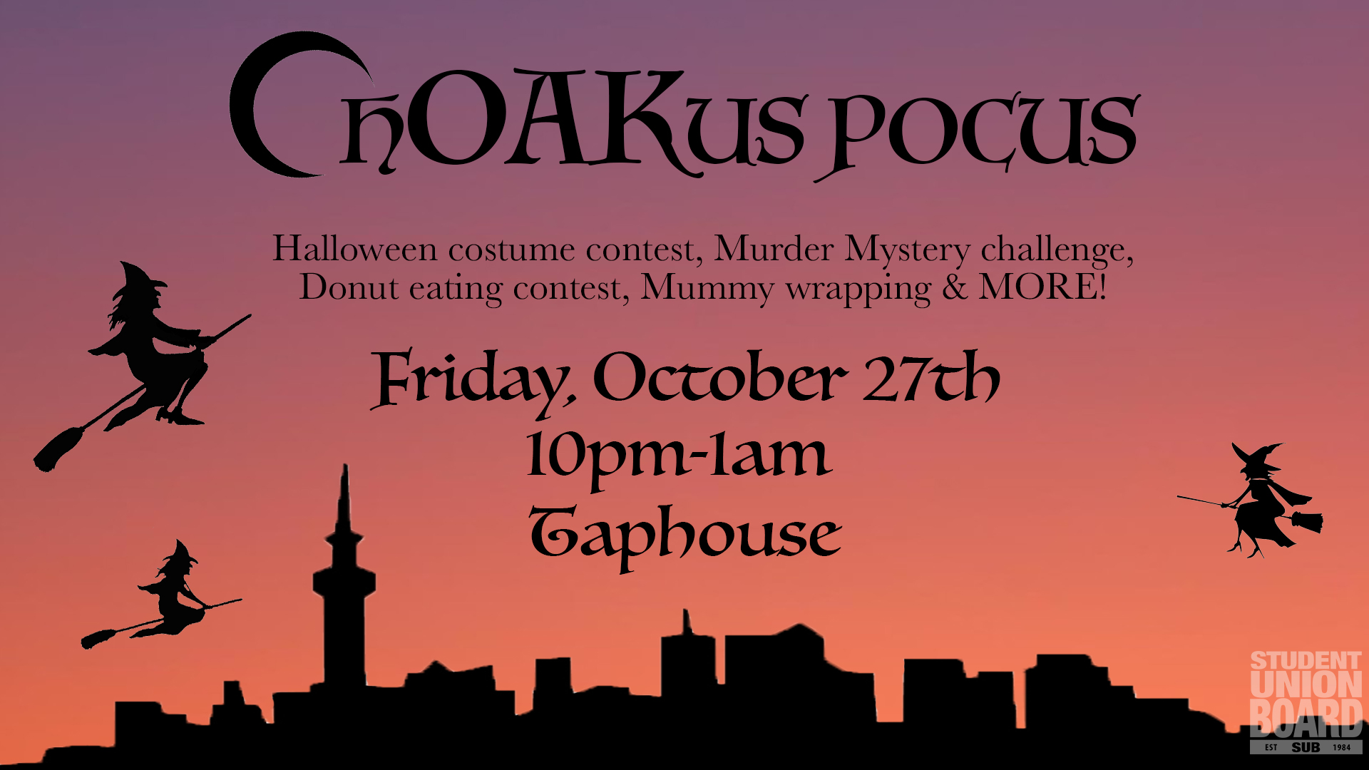 Participate in the real life clue game during the Friday of Halloween weekend at 10pm in Taphouse!