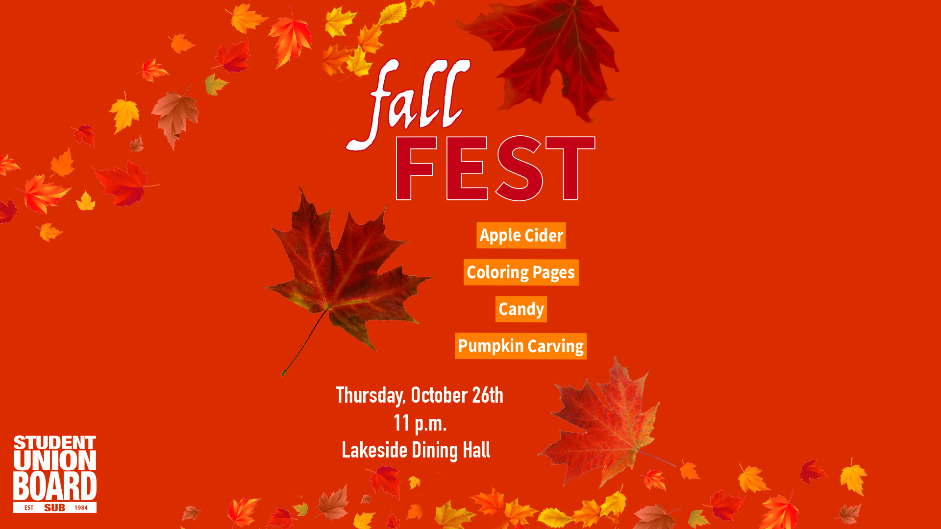 Join us to celebrate fall with pumpkin carving, apple cider and lots of candy at 11pm this Thursday!