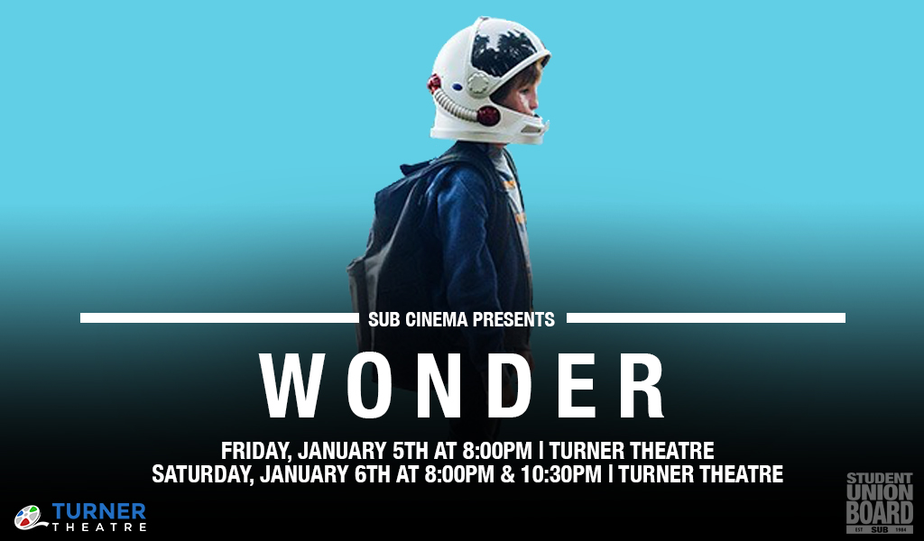 See the hit movie, Wonder, starring Julia Roberts, Jacob Tremblay and Owen Wilson on January 5th and 6th in Turner Theatre!