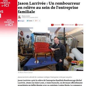 Un bel article sur la relève de la compagnie Rembourrage Larrivée!