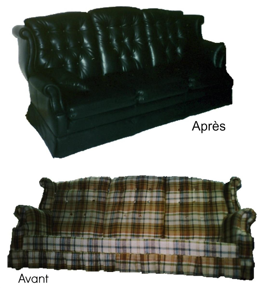 rembourrage d'un divan, avant et après notre travail le divan n'a plus le même look