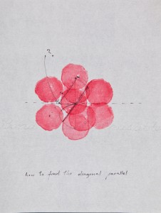 Simone Forti, Red Illuminations Drawing, 1972. Graphite,ink on vellum, vegetable stamp. © 2013 THE BOX Los Angeles